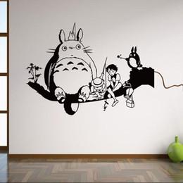 Аниме искусство Онлайн-Тоторо Плакаты Black Wall Art Таблички Съемный мультфильм стены наклейки для детей домашний декор аниме плакат vinilos Infantiles 42 * 58см