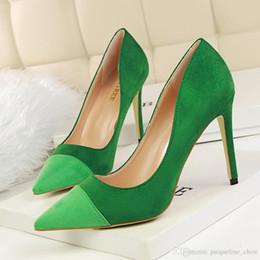 Chaussures habillées pour les femmes prix à vendre-Prix à bas prix sexy pointu toe patchwork dames chaussures habillement mode suédé boîte de nuit chaussures simples chaussures à talons hauts chaussures de bureau 1023-1