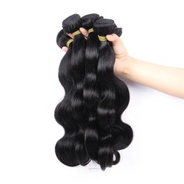 Brazilian Human Hair Natural Color(1B) Body Weave Three Bundles with Free Part Lace Closure 100% Unprocessed Human Virgin Hair 8A Grade