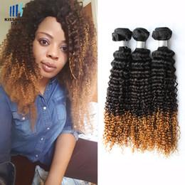 27 bouclés ombre en Ligne-Afro Kinky cheveux bouclés T 1b / 4/27 Ombre Remy extensions de cheveux humains 3 Bundle Mongolian Kinky cheveux bouclés Virgin 300g