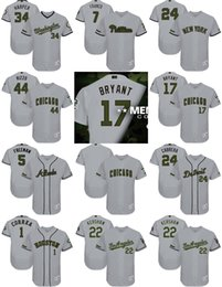 2017 Men's Cubs Kris Bryant Anthony Rizzo Freddie Freeman Clayton Kershaw Maikel Franco Bryce Harper Gray 2017 Memorial Day Baseball Jerseys