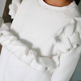 Wholesale Girl Clothing Thicken Fleece Leisure Long Sleeves Round Collar Pure White Render Blouse Warm Cartoon Lovely Korean Fashion