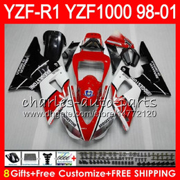 8Gift 23Color Body For YAMAHA YZF1000 YZFR1 98 99 00 01 YZF-R1000 red white 61HM11 YZF 1000 R 1 YZF-R1 YZF R1 1998 1999 2000 2001 Fairing