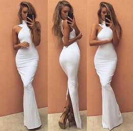 2017 Sexy Backless White Long Evening Dresses Sheath High Neck Sleeveless Prom Dresses with Back Split Cheap Robe de soriee