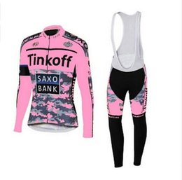 Wholesale New Arrival Tour De France Team Cycling Long Jersey Sets Tinkoff Saxo Bank Nine Style Bicycle Wear Cycling Long Sleeve with Bib Long