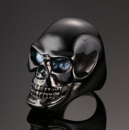 Wholesale The new European Black Skull Ring ring jewelry accessories RC B punk men