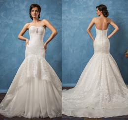 mermaid wedding dresses 2017 amelia sposa bridal gowns strapless semi sweetheart neckline chapel train wedding gowns