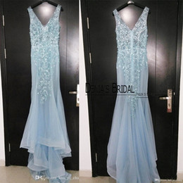 2016 Evening Dresses inspired by Paolo Sebastian Plunging V Neck Light Blue Sequins Beaded Court Train Sheer Real Images Prom Gowns