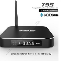 Wholesale T95 Android K TV Box Amlogic S905 Quad Core Kodi Rooted Smart TV Box WIFI GB GB Ethernet M H Streaming Media Player