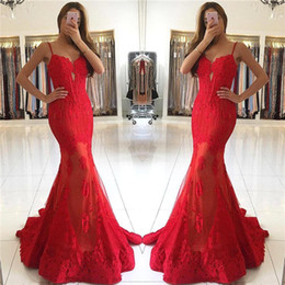 Mermaid Sexy Red Prom Dresses 2018 New Design Mermaid Spaghetti Straps with Lace Appliques Evening Party Gowns Formal Pageant Wear BA6685