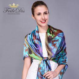 [FEILEDIS] 2017 Silk Scarf Women Sjaal Long bandana Fashion Scarf Luxury Brand Foulard Femme Scarves Printing hijab FD001