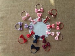 2017 high quality ribbon hair bow with elastic band for hair accessories, bows with girls hairband for chirldren
