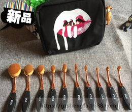 Wholesale New Kylie Oval Makeup Brush Rose Gold Cosmetic Foundation BB Cream Powder Blush pieces Makeup Tools bag