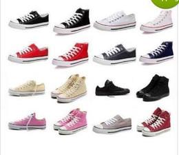 2017 altos tops hombres 45 DORP QUE ENVÍA LOS NUEVOS zapatos de lona de los hombres de las mujeres adultas altas-Top unisex de size35-45 los nuevos 13 colores atados encima de zapatos de la zapatilla de deporte de los zapatos ocasionales económico altos tops hombres 45