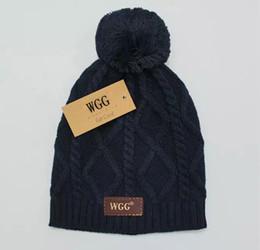 Wholesale Skull Beanie Knitting Pattern - WGG cashmere hat Fashion knitted wool hat Checkered pattern Women winter hat