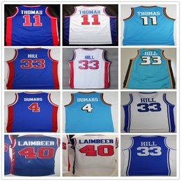 Wholesale Cheap High Quality Throwback Joe Dumars Isiah Thomas Jersey Grant Hill Bill Laimbeer Basketball Jersey Mix Order