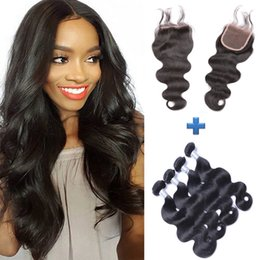 Peruvian Remy Body Wave Remy Human Hair Weave 4 bundles With 4*4 Lace Closure Free Part With Baby Hair Natural Black Free Shipping