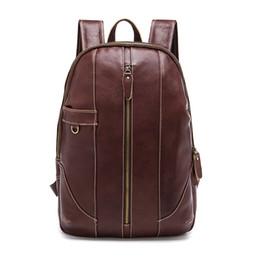 Sacs à dos homme sac à main en cuir de vache homme européen grosse taille voyage vintage sac à dos sac à dos unisexe en cuir véritable à partir de hommes bruns sacs à dos fournisseurs
