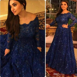 Elie Saab Lace Evening Dresses Dark Navy Long Sleeve Prom Dresses Illusion Beaded Sequin Red Carpet Celebrity Dress Party Gowns Off Shoulder