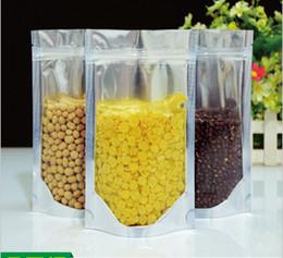 Compra Online Bolsas de embalaje reutilizables-12X20CM, Aluminio translúcido Bolsa de cierre con cierre de plástico - Plata Aluminio metálico Mylar y bolsa de plástico resellable claro Frente