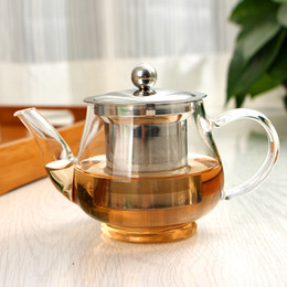 Wholesale 600ML High capacity Stainless Steel Heat Resistant Hyaline Glass Teapot Coffee Tea Set Puer Kettle With Filter Durable Tea Sets