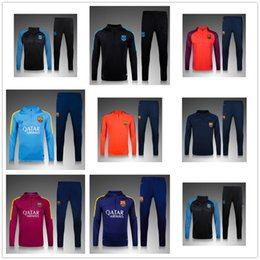 Wholesale 2016 New Top quality Barcelona soccer tracksuit chandal Barcelona football Tracksuit training suit skinny pants Sportsw