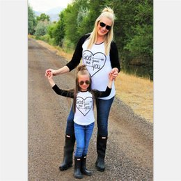 Wholesale Retail Hot Sell Family Matching Outfits long sleeve Black and white mosaic heart Mother and daughter