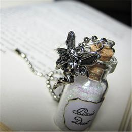 12pcs lot Pixie Dust Necklace Fairy Dust Charm Pixies Fairy Tale Glitter Pendant silver tone