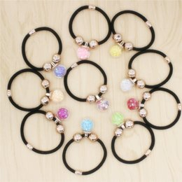 2017 New Hair Jewelry Multicolor Glass Ball Hair Rubber Bands Elastic Shining Star Hair Jewelry Rope For Women
