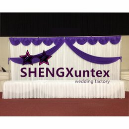 10ft*20ft White Backdrop Curtain With Purple Color Swag And Middle Drape