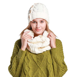 Wholesale Crochet Yarn Scarf - Women's Scarf and Beanie Hat Set Button Thick Crochet Warm Knitted Weave Beanie Hat Woven Cable Knit Beanie Hat And Scarf Set