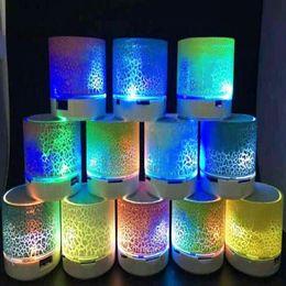 Boîte de haut-parleur de radio à vendre-Mini haut-parleur Haut-parleurs Bluetooth Flash LED coloré A9 mains libres sans fil haut-parleur stéréo FM Radio TF carte USB pour iPhone Mobilewith boîte de détail