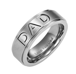 Wholesale New Arrive Mens mm Silver Black Gold Titanium DAD Ring Engraved Love You Dad Men s Gift Jewelry Father Day Gift Stainless Steel Band Ring