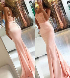 2018 Pearl Pink Prom Dresses Newest Lace-Appliques Sleeveless Spaghetti-Strap Mermaid Pageant Party Gowns Long Vestido De Soiree Custom