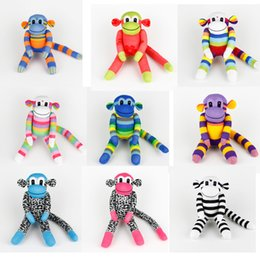Wholesale Socks Animals Doll - Wholesale-Kids Birthday gift 100% handmade DIY stuffed sock animals doll baby toys sock monkey Christmas New Year Gifts 10 styles