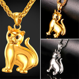 U7 Lovely Cat PendantNecklace with Solid Body Rhinestone Eyes Gold Plated Stainless Steel for Women Men Fashion Lucky Pet Jewelry GP2417