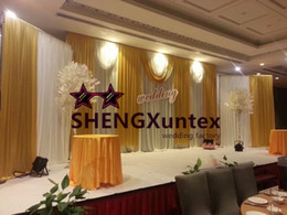 New Design Big Size White And Gold Wedding Backdrop Curtain Free Shipping