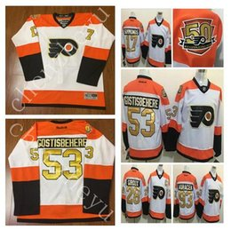 Wholesale 50th Anniversary Philadelphia Flyers hockey Jerseys Claude Giroux Wayne Simmonds Shayne Gostisbehere Winter Classic Gold M XXXL