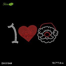 Livraison gratuite Je aime le motif de transfert de chaleur en strass motif Santa sur l'applique pour le tee-shirt DIY DH0194 # à partir de transferts tshirt fabricateur