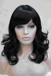 2017 charming fashion charming healthy jet blank medium length curly women's bangs wig