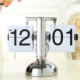 Wholesale White Color Retro Flip Down Clock Unique Modern Black Adjustable Height Internal Gear Operated Table Desktop Clocks