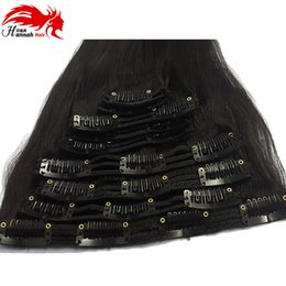 Hannah product Clip In 100% Brazilian Human Hair Extensions Full Head 7pcs set 12