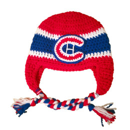 Crochet Novelty Hockey Team Hat Handmade Crochet Baby Boy Girl Red Blue Striped Hat Sport Fans Hat Infant Toddler Photo Prop Shower Gifts