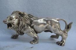 China Folk Refined white Copper Silver Feline animal Ferocious Male lion Statue
