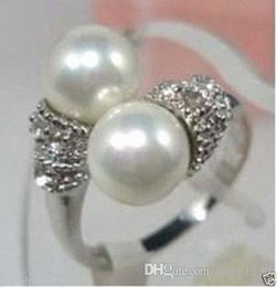 free shipping Jewelry White jade Pearl Silver Plated Ring Size 7,8,9