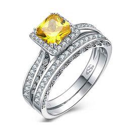 Descuento piedras preciosas conjunto de plata de ley Anillo auténtico de la piedra preciosa del anillo de la plata esterlina 925 con el amarillo simulado del anillo del par del diamante para la caja de regalo libre R445 de la joyería de la boda de la mujer