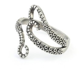 Wholesale 2017 New Punk Style Squid Octopus Ring Men s Jewelry Animal Opened Adjustable Finger Ring for Man
