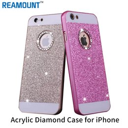 50pcs Bling Crystal LOGO Hole Glitter Powder Hard Plastic Luxury Back Cover For Case iphone 6s fundas Coque
