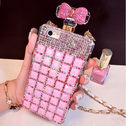 085 Botella de perfume hecho a mano del Rhinestone 3D de Bling El teléfono lindo del color de rosa del Bowknot protege la caja del teléfono móvil de la contraportada para el iPhone 5 / 5s 6/6 más 7/7 más desde iphone bling la rosa proveedores