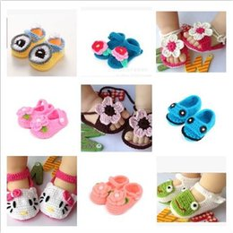 Wholesale Baby Crochet Bootie Toddlers Handmade Booties Infant Manual Shoes Hand Crocheted First Walker Shoes Baby Shoes Knitting Princess Shoe D488